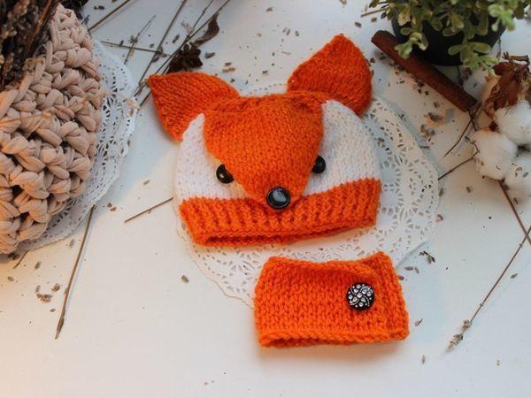 Шапка-лиса для куколки-небольшой фото мк | Ярмарка Мастеров - ручная работа, handmade