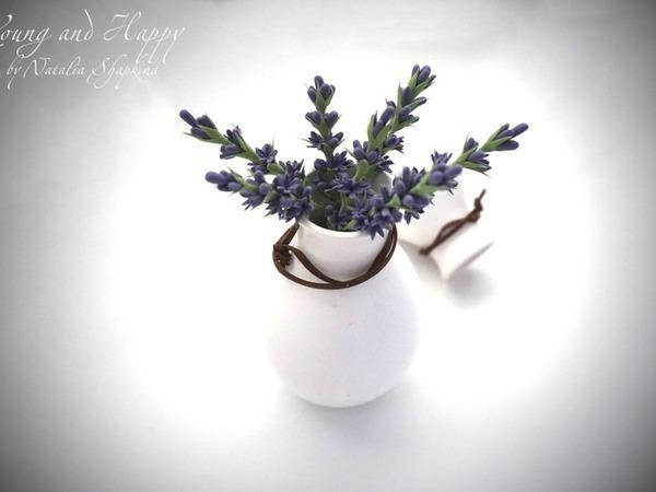 Лепим из полимерной глины веточки лаванды   Ярмарка Мастеров - ручная работа, handmade