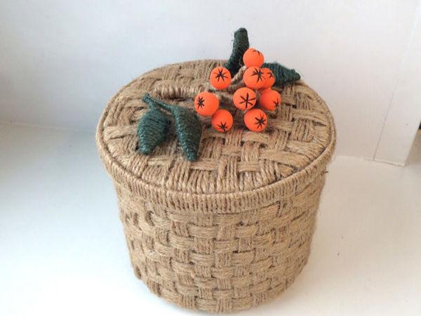 Плетем корзинку из джута и картона своими руками | Ярмарка Мастеров - ручная работа, handmade