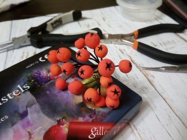 Делаем веточку рябины из самозатвердевающего пластилина | Ярмарка Мастеров - ручная работа, handmade