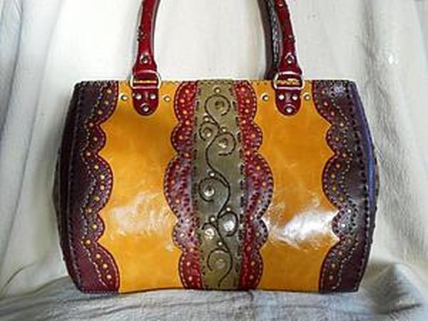 Курс по изготовлению сумок из кожи: Ручки круглые и плоские, карманы прорезные и накладные | Ярмарка Мастеров - ручная работа, handmade