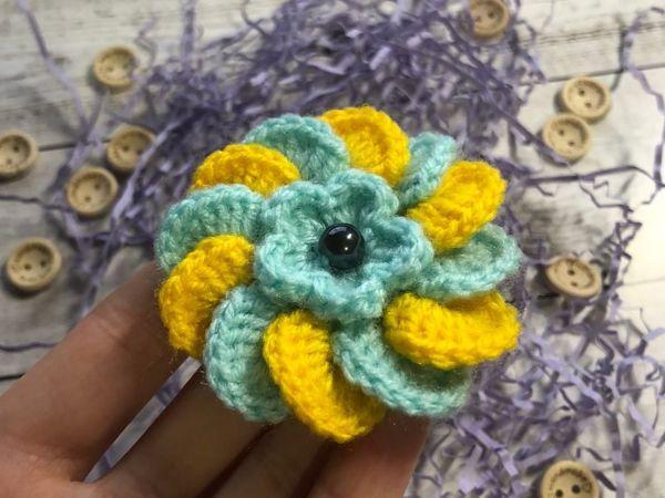 Мастер-класс: создаем вязаный цветок | Ярмарка Мастеров - ручная работа, handmade