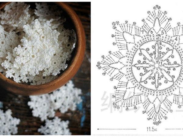Снежинки крючком схемы   Ярмарка Мастеров - ручная работа, handmade