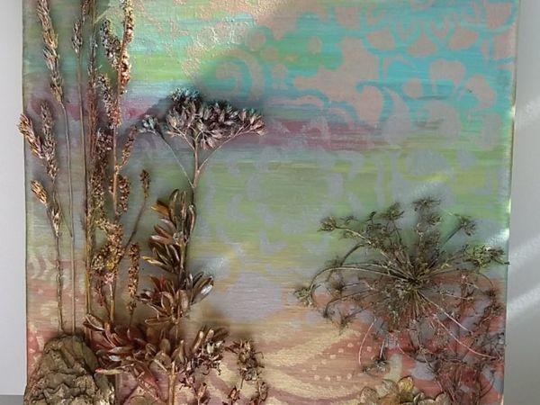 Делаем панно с сухоцветом   Ярмарка Мастеров - ручная работа, handmade