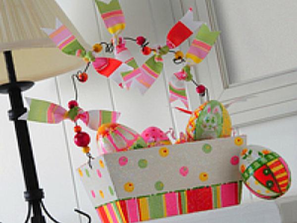 Пасхальная корзина с яйцами   Ярмарка Мастеров - ручная работа, handmade