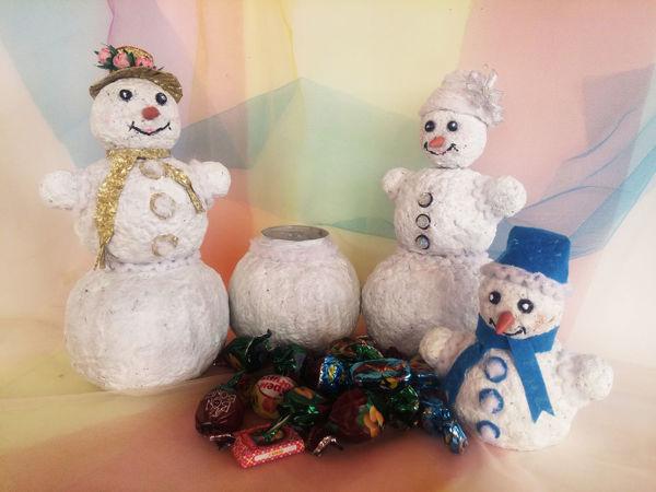 Создаем Снеговика с сюрпризом для сладкого подарка | Ярмарка Мастеров - ручная работа, handmade