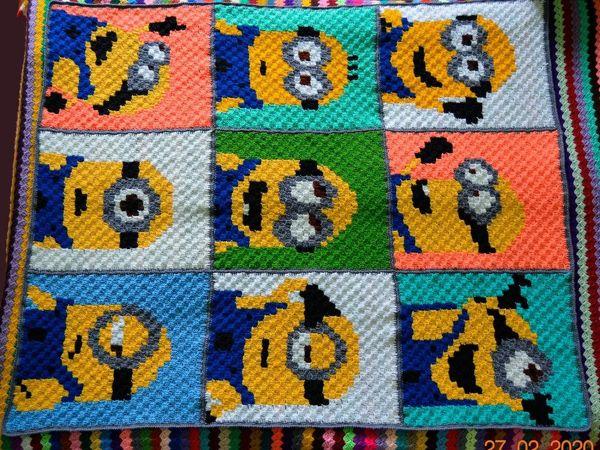 Вяжем плед Миньоны | Ярмарка Мастеров - ручная работа, handmade