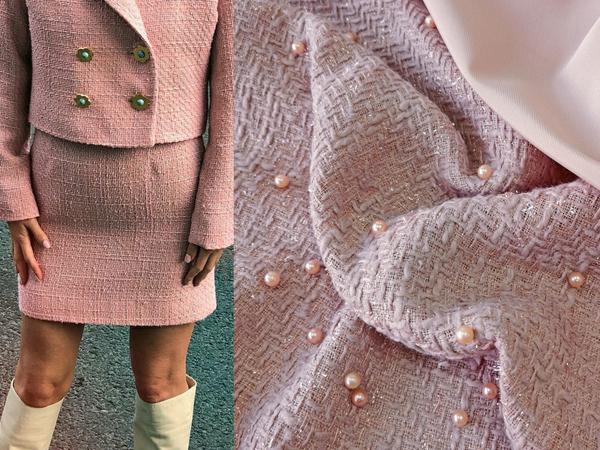 Костюмная ткань, декорированная искусственным жемчугом | Ярмарка Мастеров - ручная работа, handmade