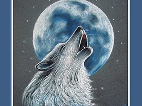 «Волк, воющий на луну» в технике сухая пастель   Ярмарка Мастеров - ручная работа, handmade