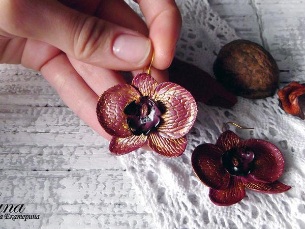 Видео мастер-класс: серьги с золотистыми орхидеями из полимерной глины | Ярмарка Мастеров - ручная работа, handmade