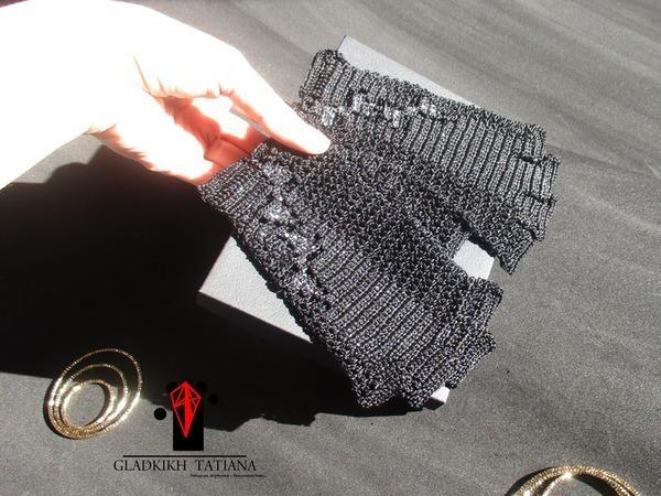 Эйварды перчатки черные Парабола ночь с серебряными бантиками..   Ярмарка Мастеров - ручная работа, handmade