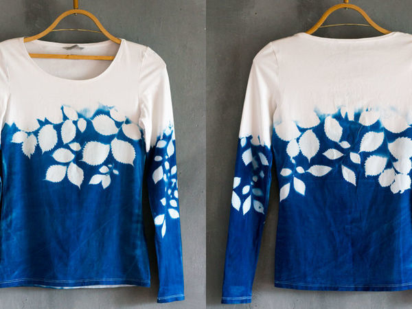 Окраска блузки с помощью растений и солнца | Ярмарка Мастеров - ручная работа, handmade