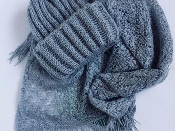 Вяжем шапку и палантин   Ярмарка Мастеров - ручная работа, handmade