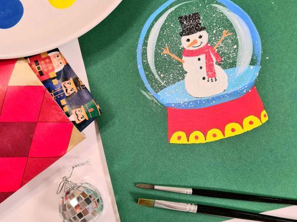 Рисование для детей: рисуем снежный шар | Ярмарка Мастеров - ручная работа, handmade
