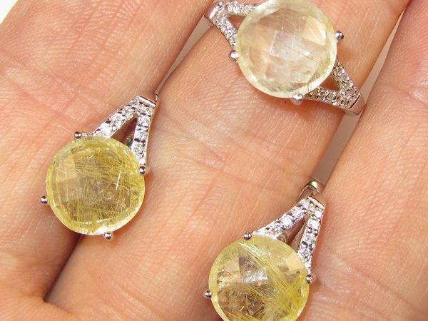 Серьги и кольцо с рутиловым кварцем серебряные | Ярмарка Мастеров - ручная работа, handmade