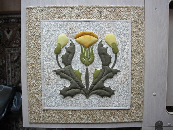 Панно «Одуванчики» — аппликация из ткани с использованием двусторонней клеевой (паутинки на бумаге) | Ярмарка Мастеров - ручная работа, handmade