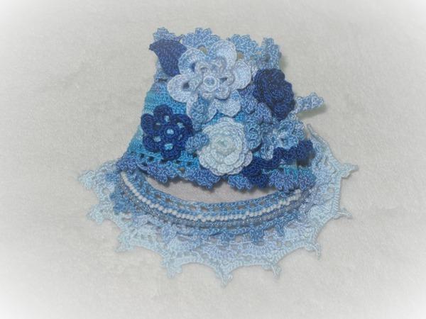 Вязанный браслет в бохо-стиле «Голубой туман»   Ярмарка Мастеров - ручная работа, handmade