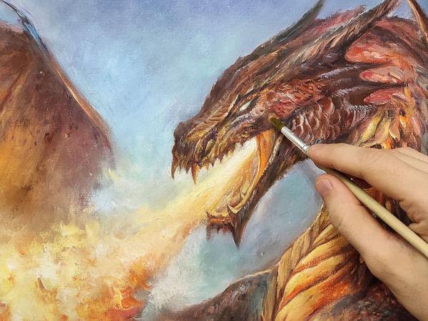 Мастер-класс по масляной живописи  «Дракон»  Процесс | Ярмарка Мастеров - ручная работа, handmade