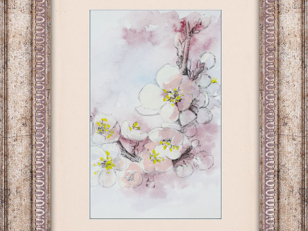 Simple and Stylish Painting of Cherry Flowers   Livemaster - handmade