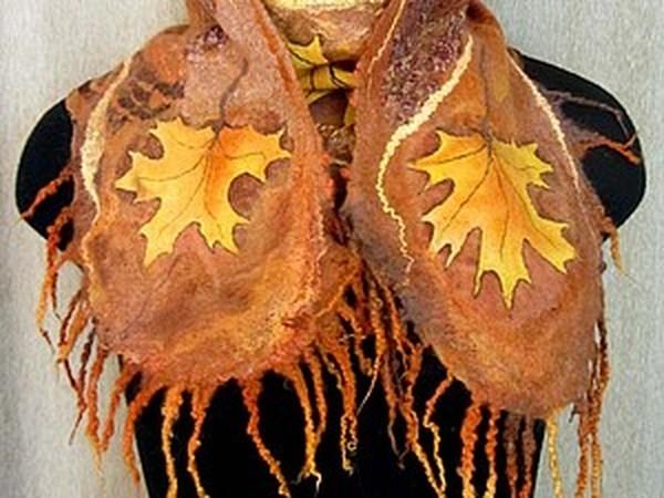 Шарфик с кленовыми листьями. Мастер-класс. | Ярмарка Мастеров - ручная работа, handmade