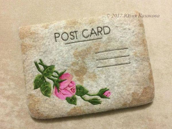 Авторский МК по сухому валянию на сумке   «Винтажная открытка» | Ярмарка Мастеров - ручная работа, handmade