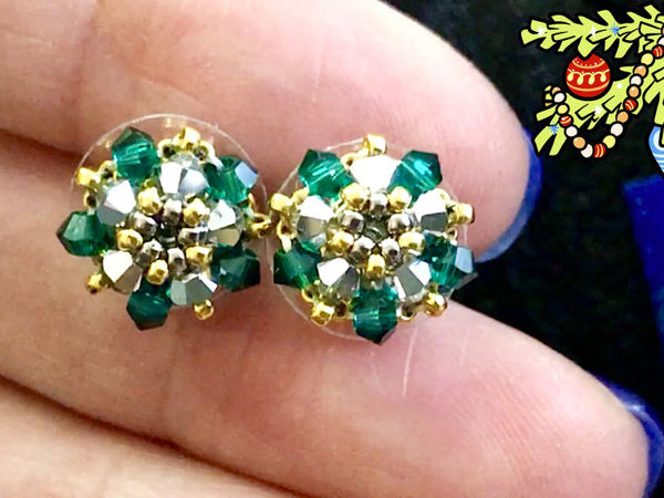 Stud Earrings With Swarovski Beads With Your Own Hands | Livemaster - handmade