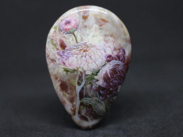 Хризантемы на яшме. Аукцион | Ярмарка Мастеров - ручная работа, handmade