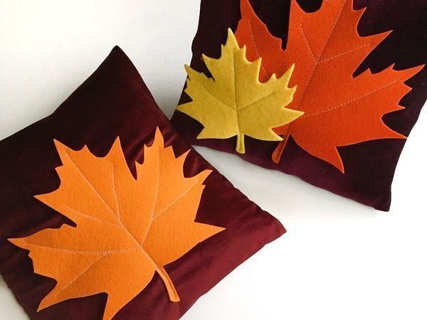 Handmade Decoration: A Pillow Case with Maple Leaves | Livemaster - handmade