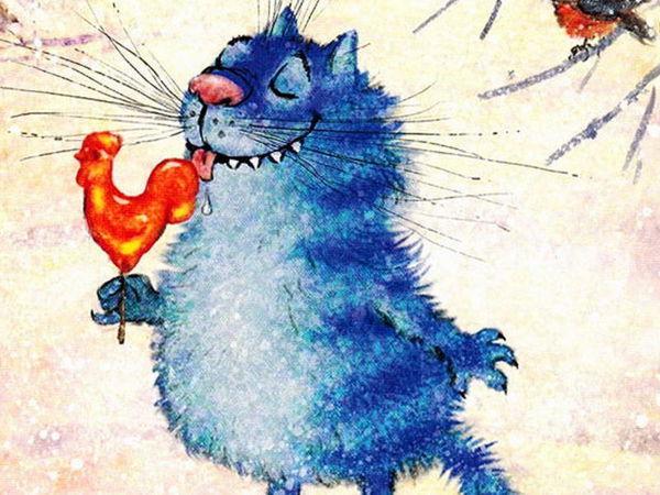 Синие коты счастья Ирины Зенюк   Ярмарка Мастеров - ручная работа, handmade