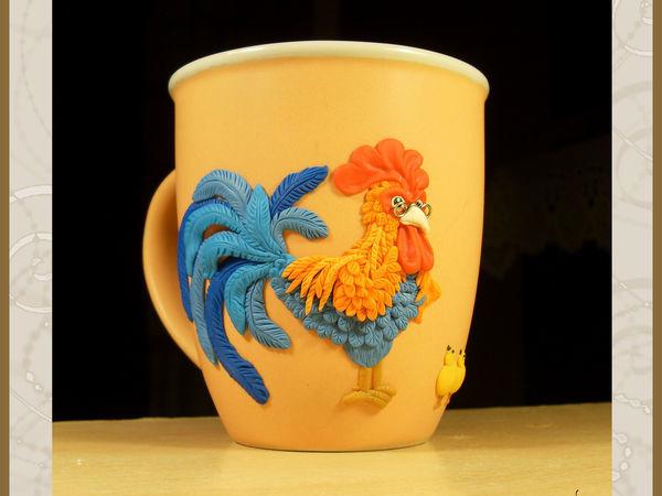 Украшаем кружку ярким петухом и цыплятами из полимерной глины | Ярмарка Мастеров - ручная работа, handmade