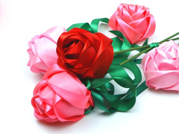 Шикарные розы из атласных лент   Ярмарка Мастеров - ручная работа, handmade