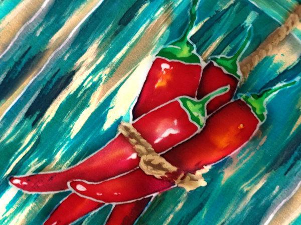 Острый красный перец. Батик смешанная техника | Ярмарка Мастеров - ручная работа, handmade