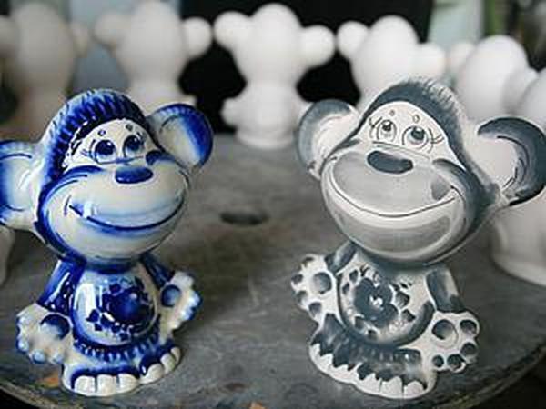 Роспись обезьянки кобальтом в стиле гжель | Ярмарка Мастеров - ручная работа, handmade