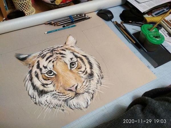 Тигр для интерьера   Ярмарка Мастеров - ручная работа, handmade