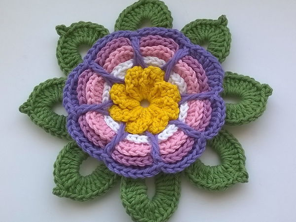 Вяжем цветок-магнит на холодильник   Ярмарка Мастеров - ручная работа, handmade