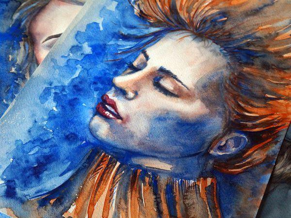 Рисуем акварелью портрет в холодных тонах «Лед и пламя» | Ярмарка Мастеров - ручная работа, handmade