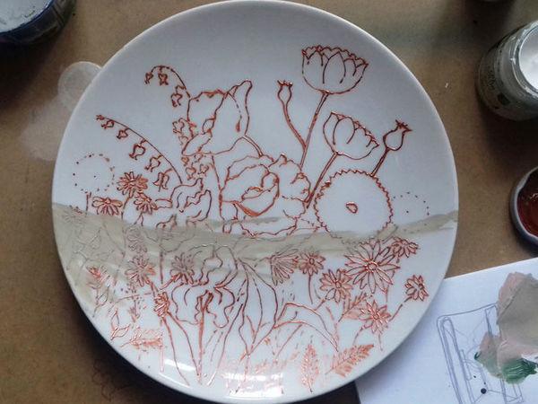 Рисуем полевые цветы на тарелке   Ярмарка Мастеров - ручная работа, handmade