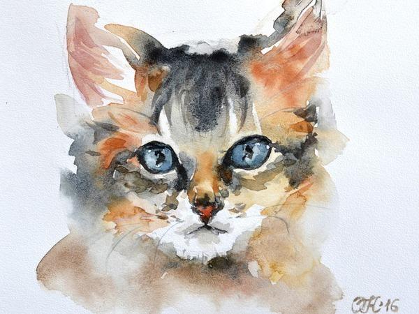 Видео мастер-класс: рисуем мордочку кота акварелью | Ярмарка Мастеров - ручная работа, handmade