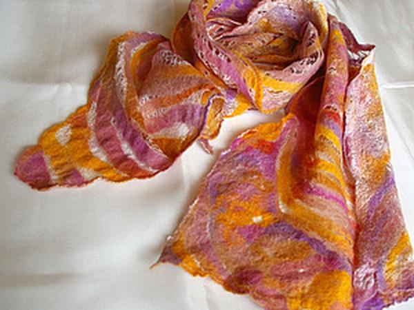 Шарф из шерсти на шелковом одеяле | Ярмарка Мастеров - ручная работа, handmade