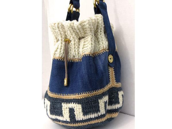Вяжем сумку торбу с джинсовыми вставками | Ярмарка Мастеров - ручная работа, handmade