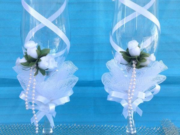 Как украсить свадебные бокалы своими руками | Ярмарка Мастеров - ручная работа, handmade