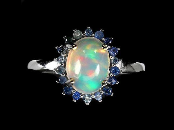 Серебряное кольцо с опалом, размер 18,5 | Ярмарка Мастеров - ручная работа, handmade