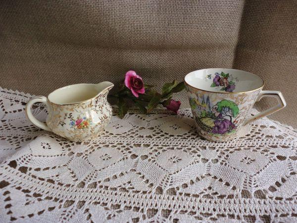 Очаровательные, редкие фарфоровые чашечка и сливочник | Ярмарка Мастеров - ручная работа, handmade