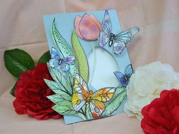 Делаем из бумаги весеннюю открытку с бабочками | Ярмарка Мастеров - ручная работа, handmade
