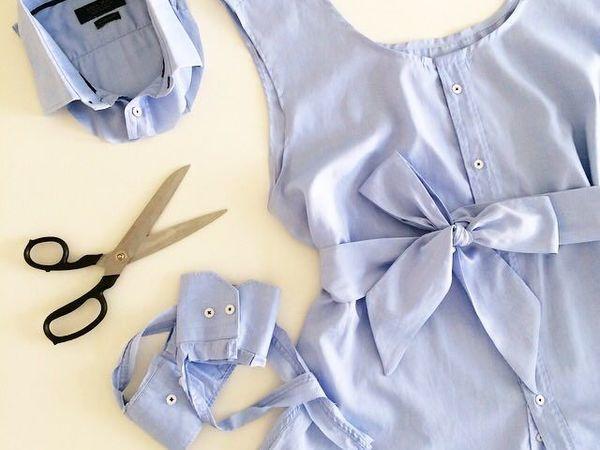 Лайфхак: летняя женская блузка с поясом из мужской рубашки | Ярмарка Мастеров - ручная работа, handmade