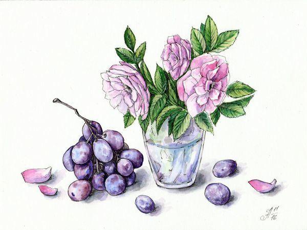 Рисуем шиповник и виноград акварелью и линерами   Ярмарка Мастеров - ручная работа, handmade