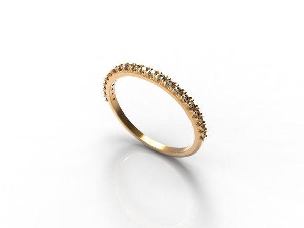 Тонкое обручальное кольцо с камнями, золото 585 и серебро 925 | Ярмарка Мастеров - ручная работа, handmade