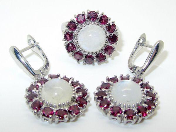 Серьги, кольцо/серьги, кулон с лунным камнем и родолитом серебряные | Ярмарка Мастеров - ручная работа, handmade
