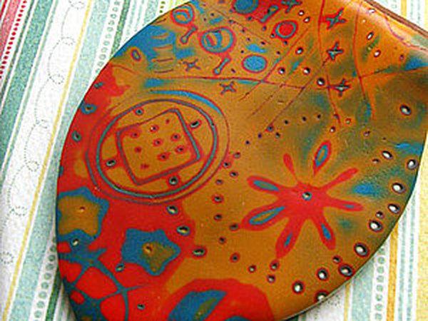 Кулон и серьги из полимерной глины — техника Мокуме гане | Ярмарка Мастеров - ручная работа, handmade