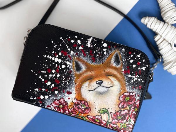 Видео сумочки с ручной росписью Лиса в маках | Ярмарка Мастеров - ручная работа, handmade